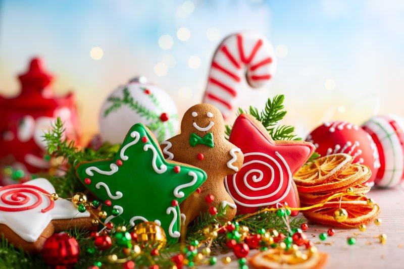 Festive display of gingerbread cookies